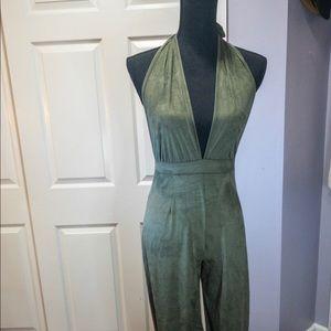 Sage green suede jumper